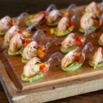 grilled queen prawn canapés